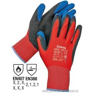 Rukavice VANELLUS, latex protiš.červená
