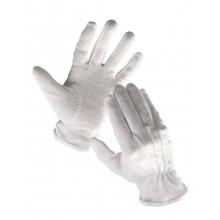 Rukavice BUSTARD 10 bavlna biele+PVC terč.